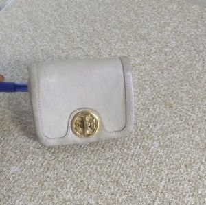 Tory Burch Ivory Leather Turn Lock Flap Wallet